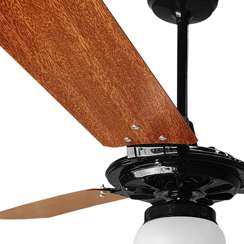 Ventilador de Teto Pto/Mg Globo Fechado 3 Pás 110V +Controle