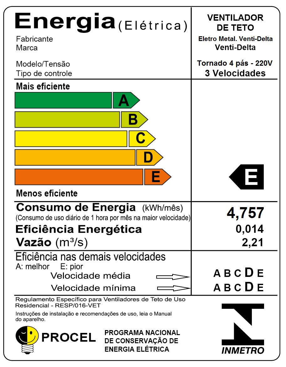 Ventilador de Teto Tornado LED 4 Pás Preto 220V