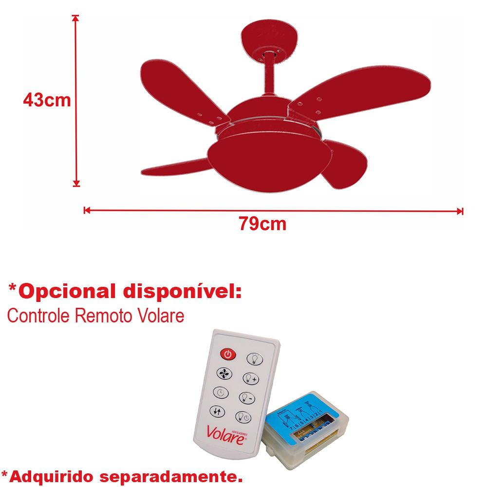 Ventilador de Teto VD28 Mini Fly Bronze 4Pás MDF Tabaco 220V