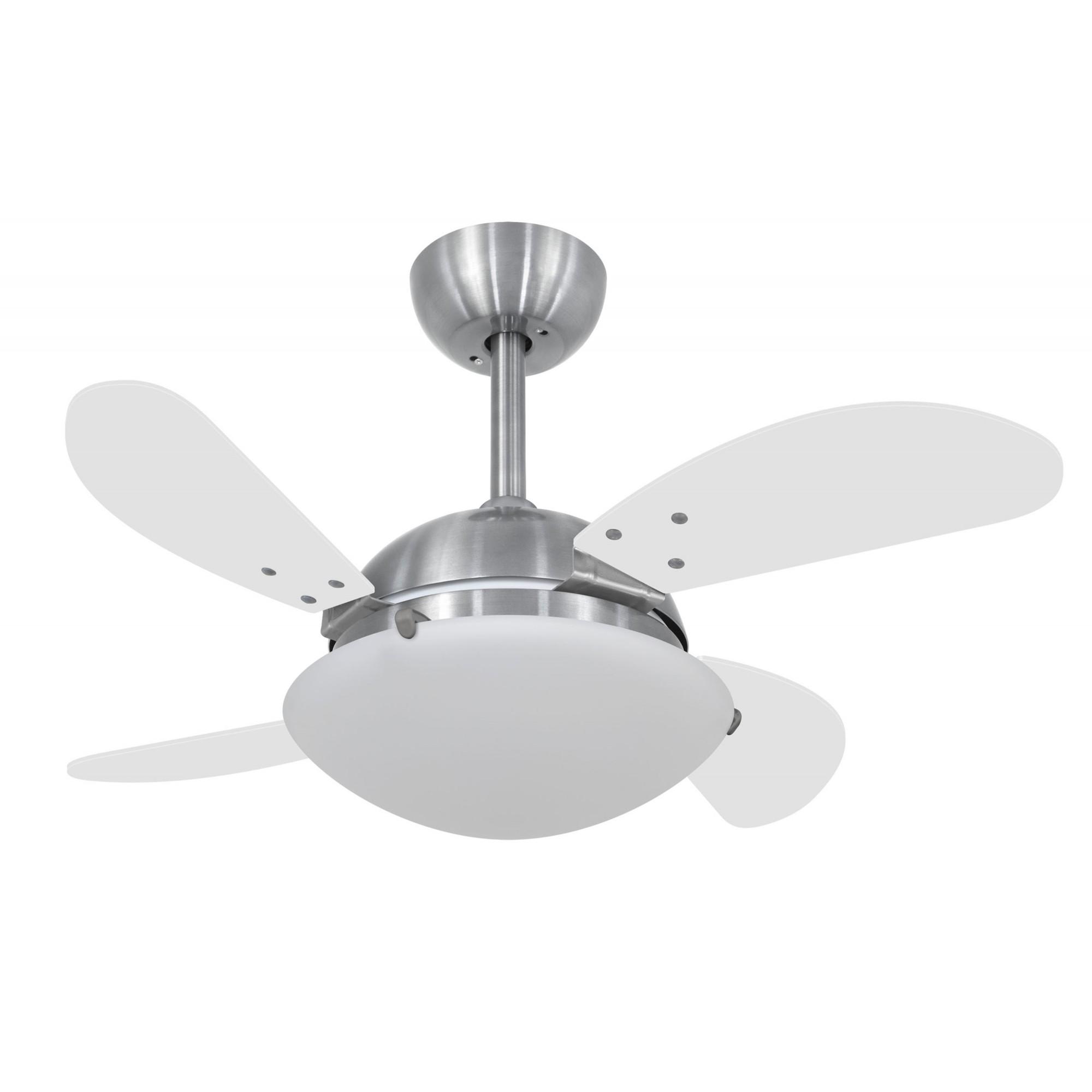 Ventilador de Teto VD300 Mini Fly Prata 4Pás MDF Branco 220V