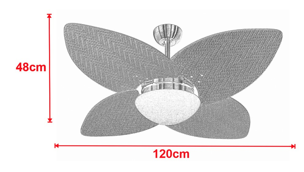 Ventilador De Teto VD42 Dunamis Branco 4Pás Rattan Tabaco 220V+Controle