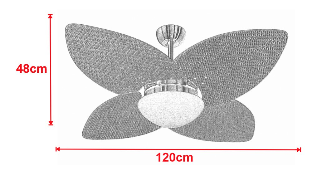 Ventilador De Teto VD42 Dunamis Bronze 4Pás Rattan Branca 220V+Controle