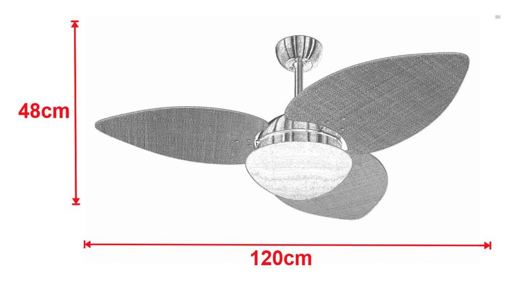 Ventilador De Teto VD42 Dunamis Cobre 3Pás Rattan Natural 110V+Controle
