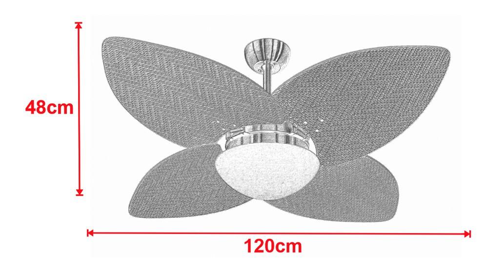 Ventilador De Teto VD42 Dunamis Cobre 4Pás Rattan Natural 110V+Controle