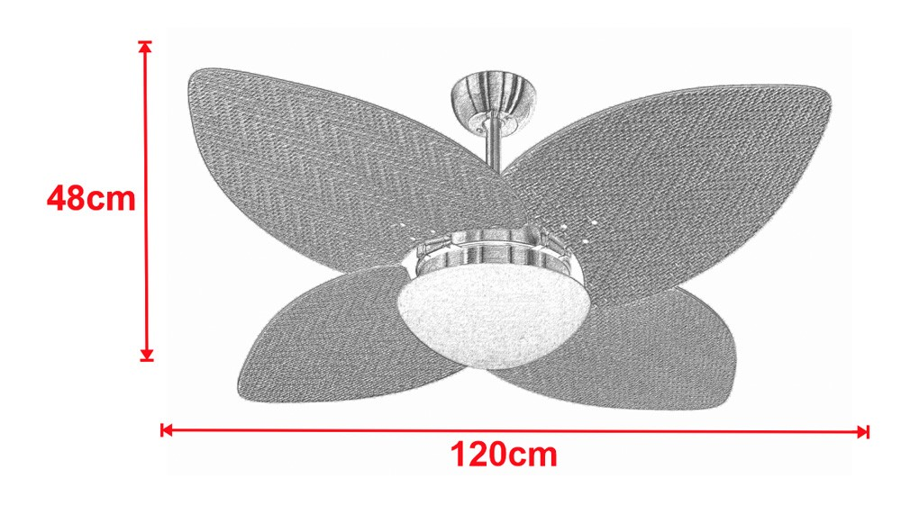 Ventilador De Teto VD42 Dunamis Cromo 4Pás Rattan Branca 220V+Controle