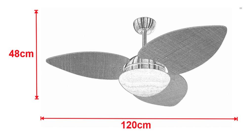 Ventilador De Teto VD42 Dunamis Dourado 3Pás Rattan Branco 220V+Controle