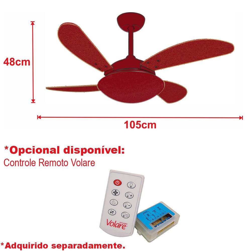 Ventilador de Teto VD42 Fly Prata 4 Pás MDF Tabaco 110V