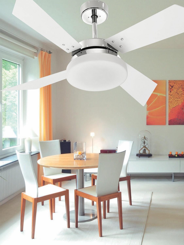 Ventilador de Teto VD50 Tech Cromo 4 Pás MDF Branco 110V