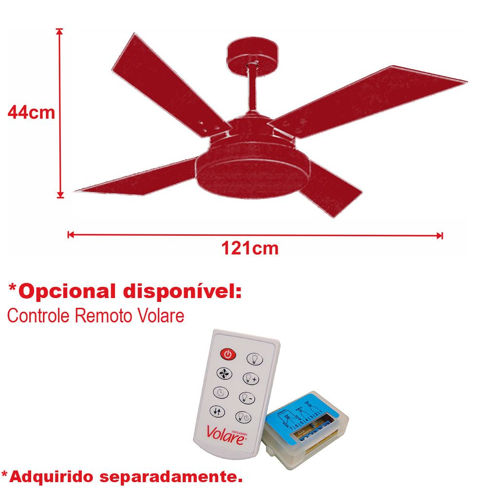 Ventilador de Teto VD50 Tech Prata 4 Pás MDF Tabaco 220V