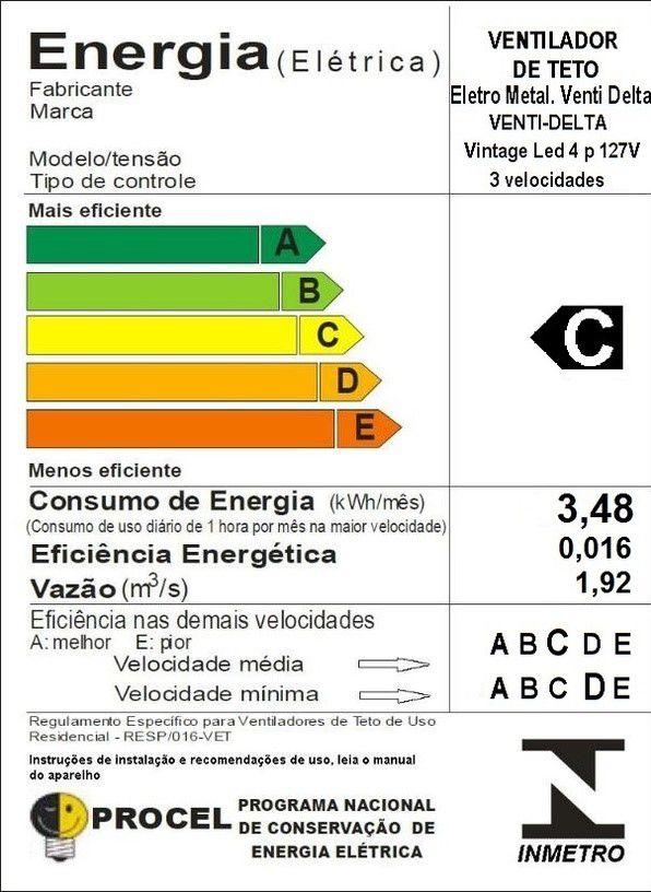 Ventilador De Teto Vintage Led Branco/Bco 110V