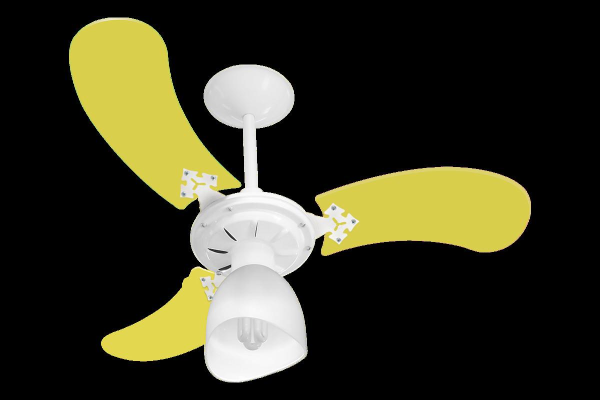 Ventilador Teto New Baby Colors 3 Pás Mdf Branco/Amarelo 110V