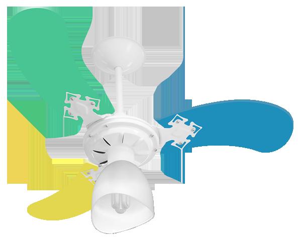 Ventilador Teto New Baby Colors 3 Pás Mdf Branco/Masculino 220V