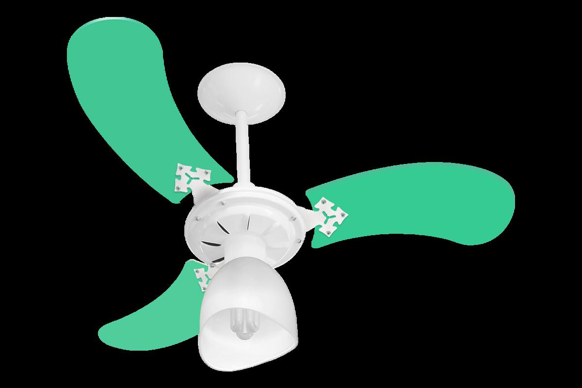 Ventilador Teto New Baby Colors 3 Pás Mdf Branco/Verde 110V