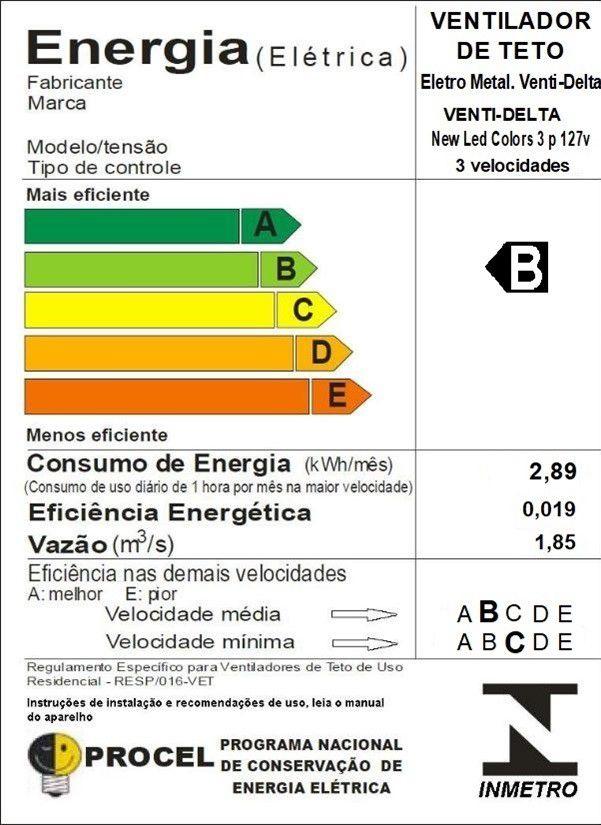 Ventilador Teto New Led Colors 3 Pás Masculino 110V 130 W