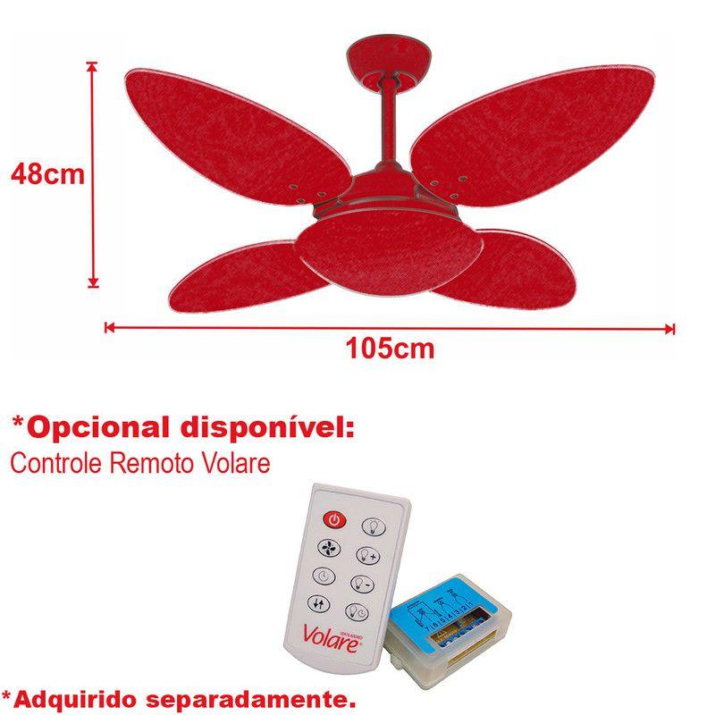 Ventilador Teto Pétalo Prata 4 Pás MDF Laqueadas Tabaco 220V