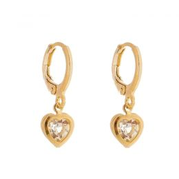 Brinco argolinha com zircônia em formato de coração banhado a ródio branco ou ouro 18k