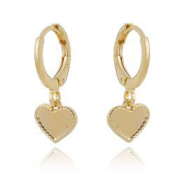 Brinco argolinha de coração c/ detalhes laterais banhado a ródio branco ou ouro 18k