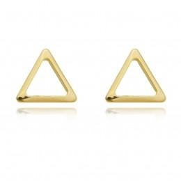 Brinco triângulo vazado banhado a ouro 18k