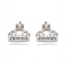 Brinquinho coroa com micro zirconias Prata 925