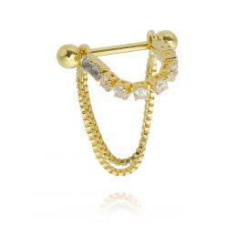 Piercing 2 em 1 cravejado com corrente Haste em aço folheado a ródio branco ou ouro 18k