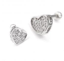 Piercing mini coração c/ zircônias Aço e Prata 925