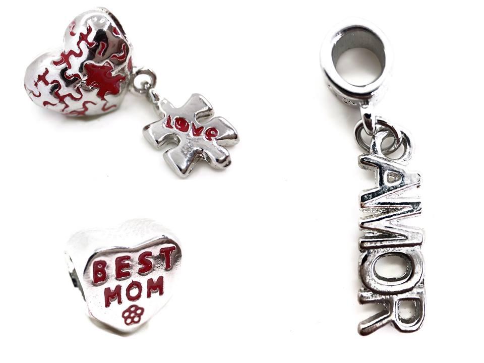 Berloque: Best mom, Amor, Coração quebra-cabeça