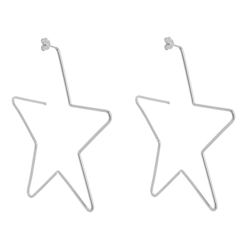 Brinco argola estrela vazada grande banhada a ródio branco