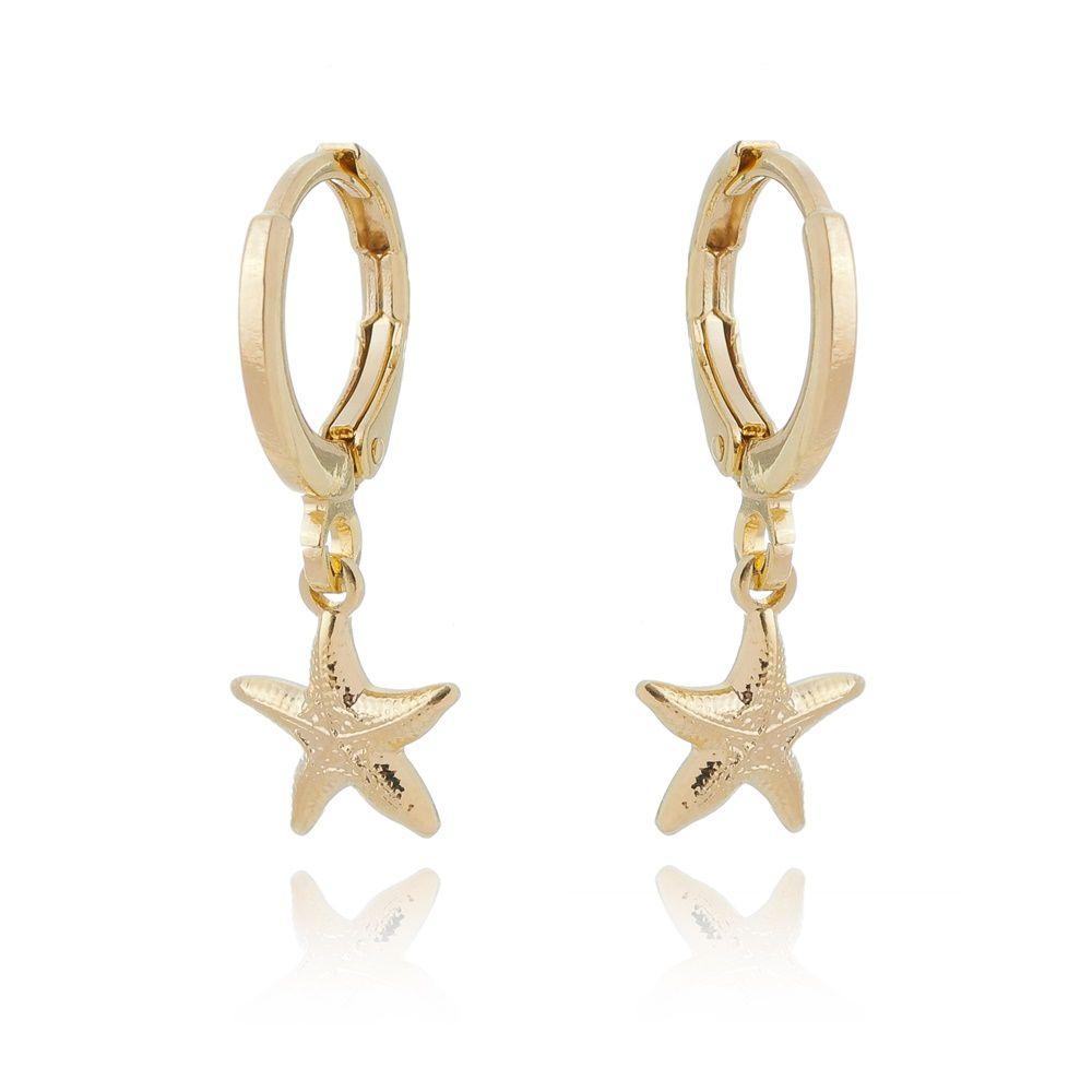Brinco argolinha estrela do mar banhada a ródio branco ou ouro 18k