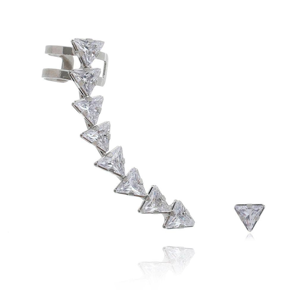 Brinco ear cuff triângular c/ ponto de luz triângulo