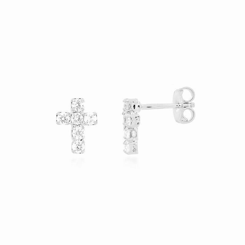 Brinquinho de pino cruz cravejada em zircônia banhado a ródio branco ou ouro 18k