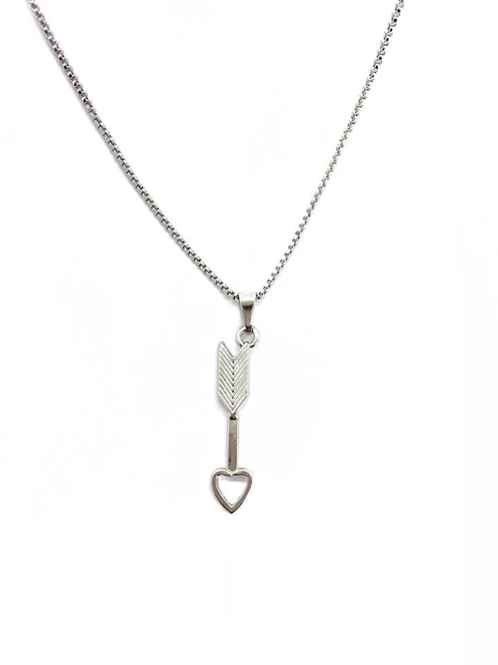 Colar flecha heart banhado a ródio branco