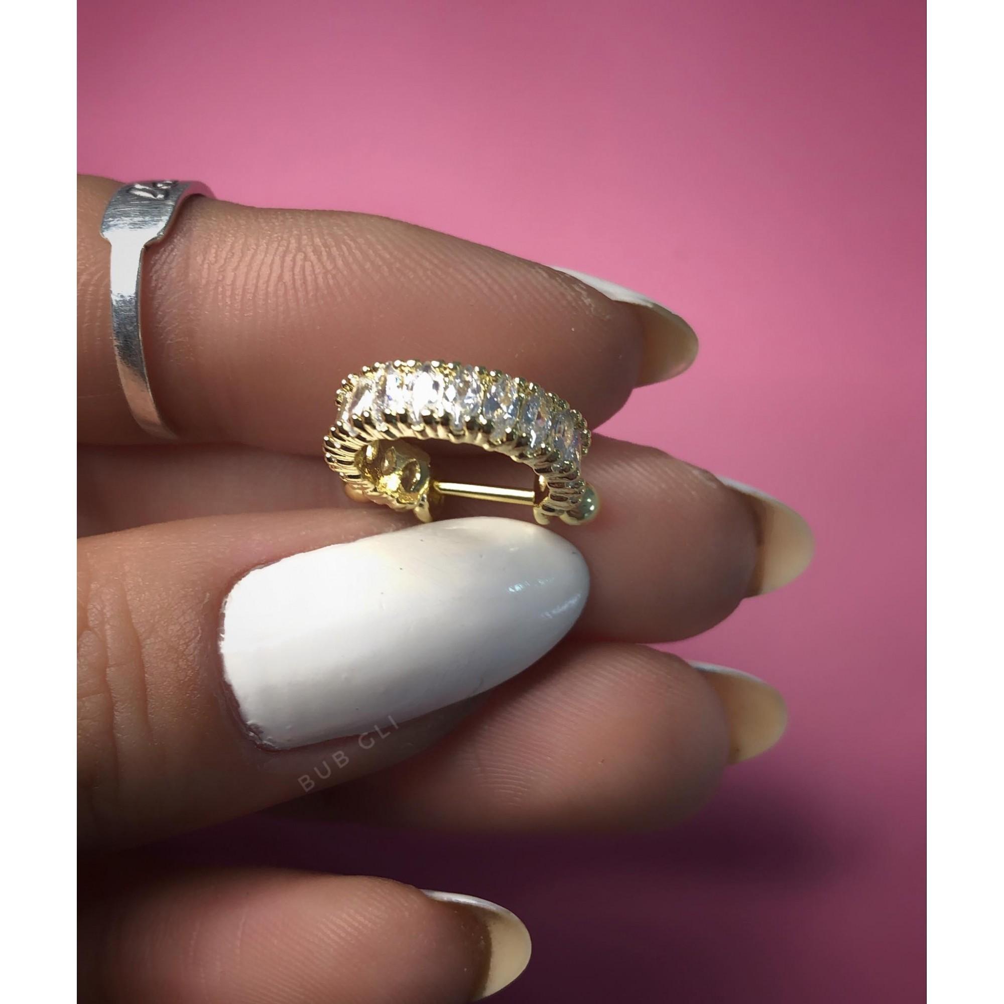 Piercing 2 em 1 argola com navetes ovais haste em aço folheado a ródio ou ouro