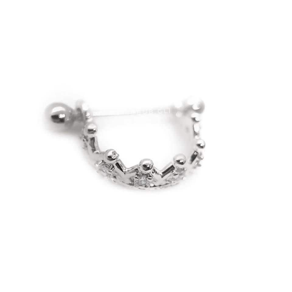 Piercing 2 em 1 coroa com micro zircônias Aço cirúrgico folheado