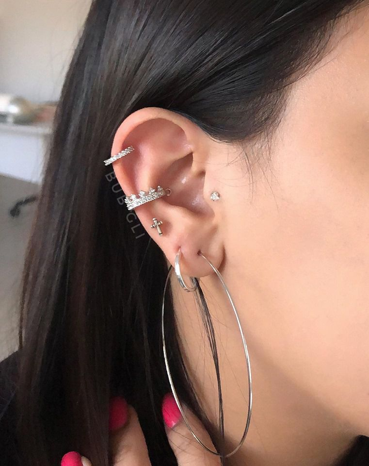Piercing 2 em 1 coroa conch  Aço cirúrgico folheado