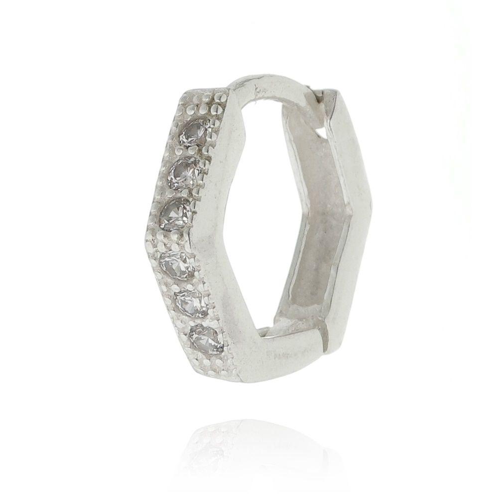 Piercing argola click octagonal cravejada Prata 925