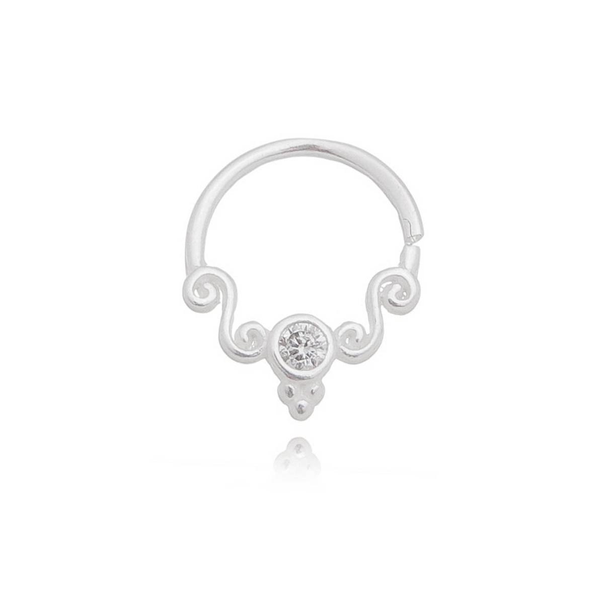 Piercing argola ornamental com zircônia e trinity Prata 925