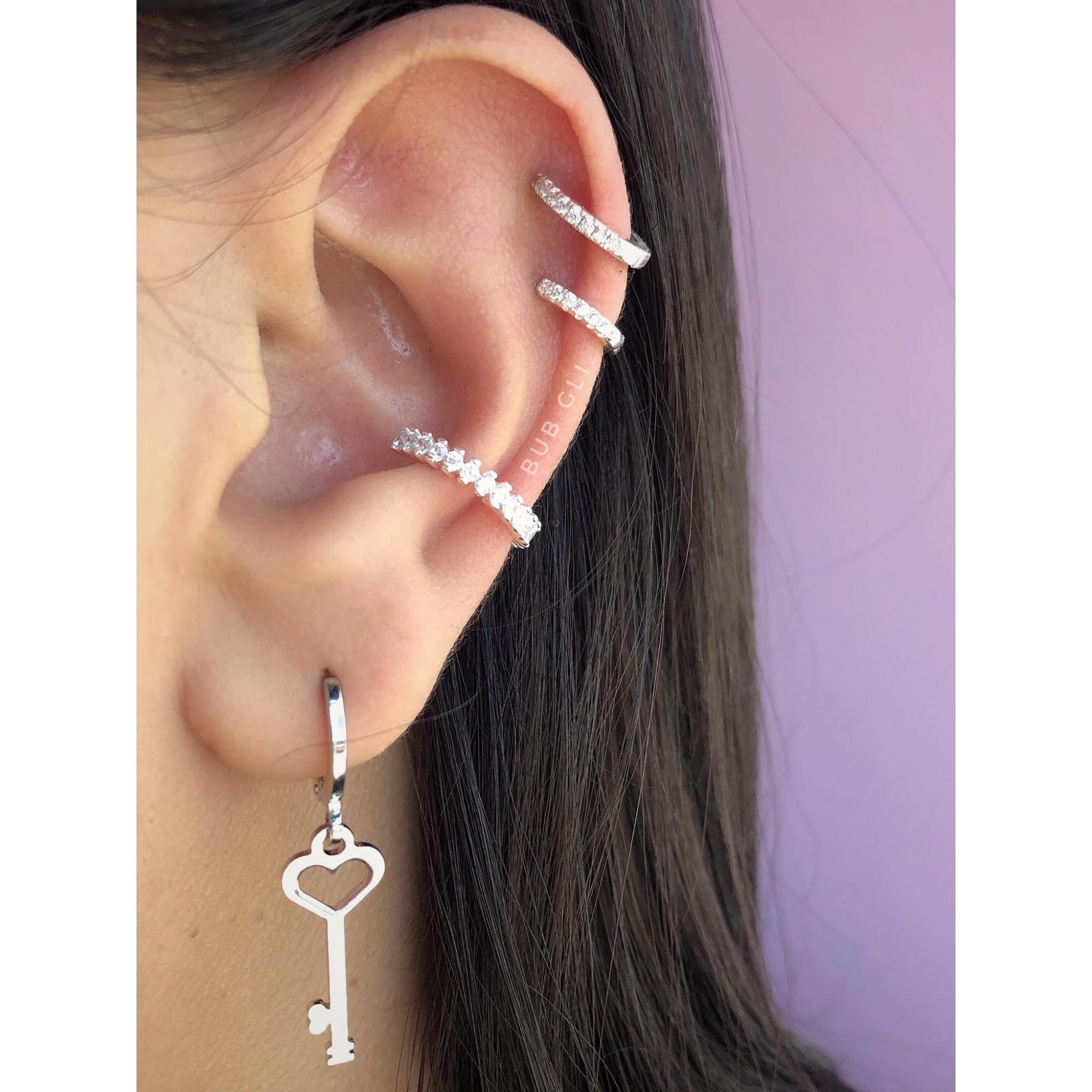 Piercing argola Prata 925 fininha de click cravejada - Ver tamanhos