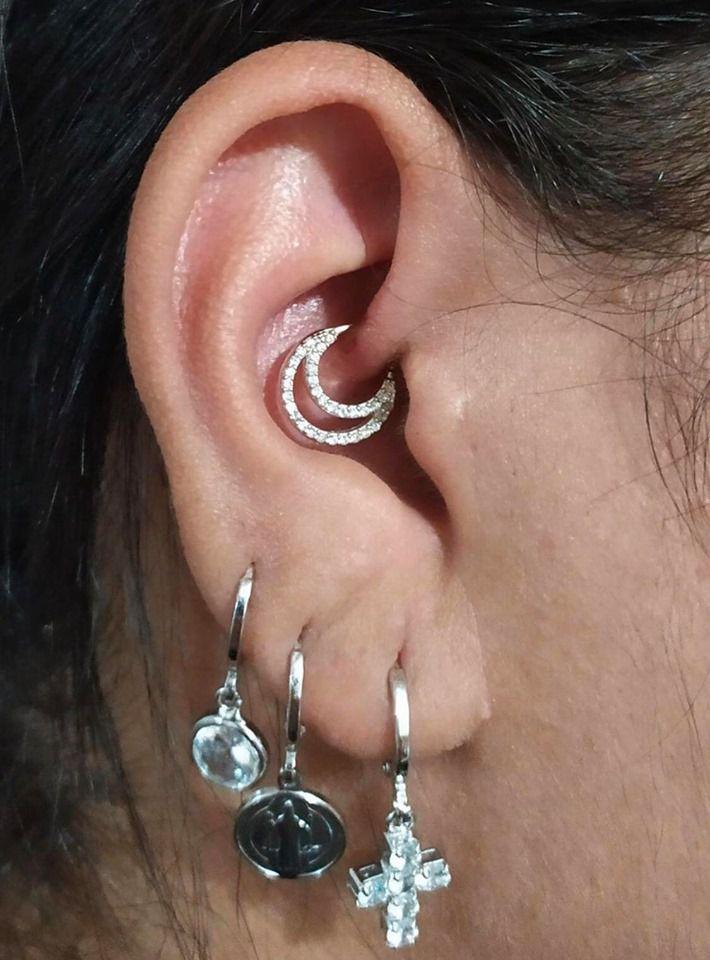Piercing argolinha dupla meia lua cravejada Prata 925