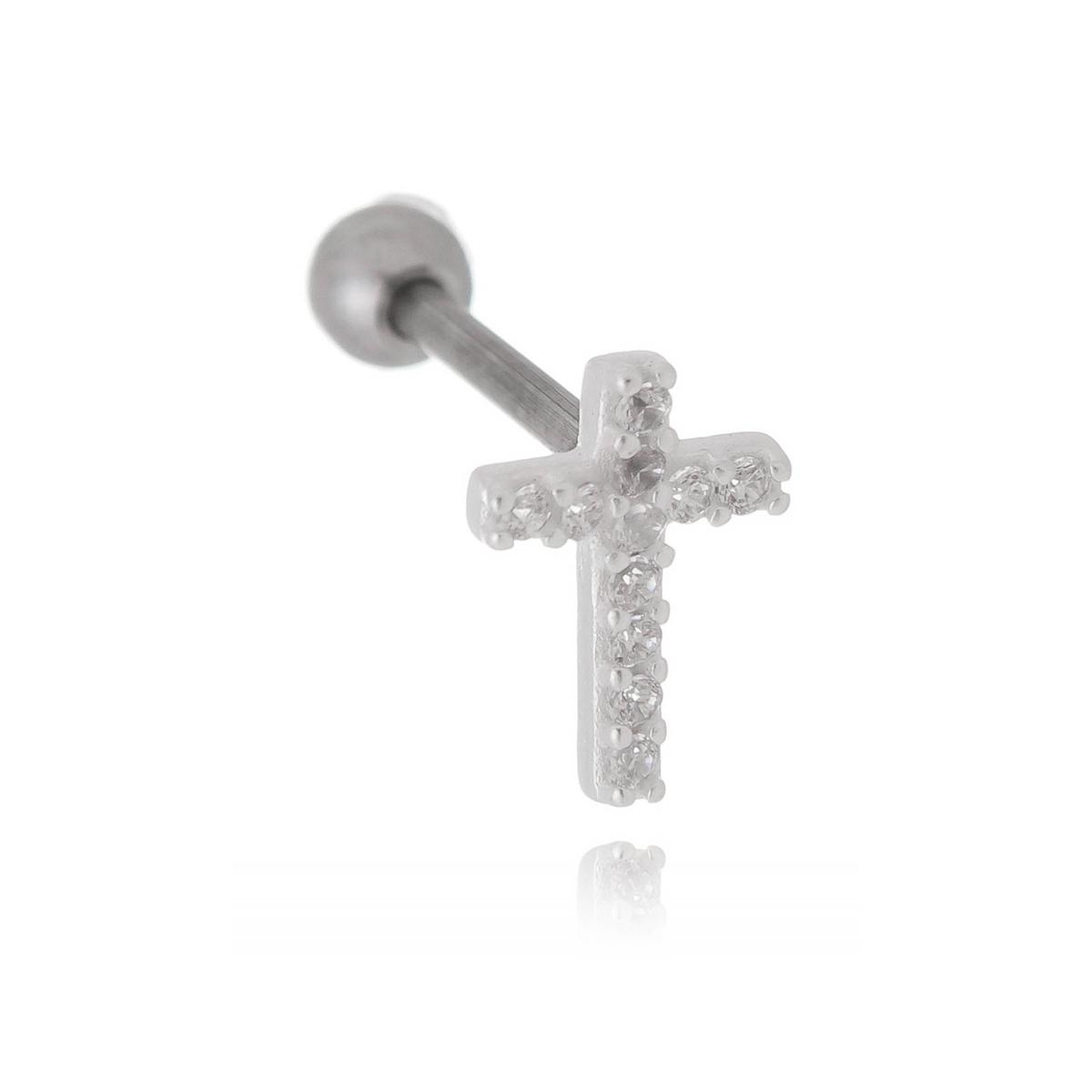Piercing barbell cruz cravejada Aço cirúrgico/Prata 925