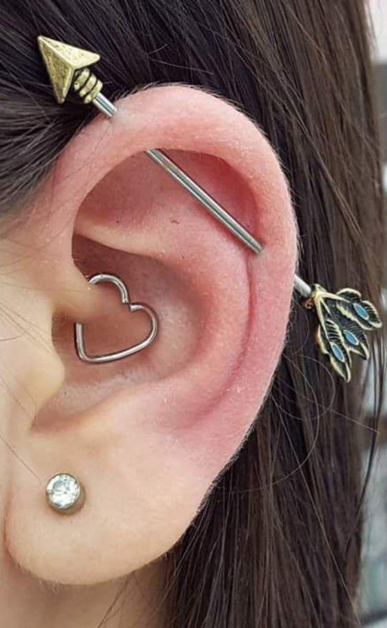 Piercing clips coração vazado aço cirúrgico