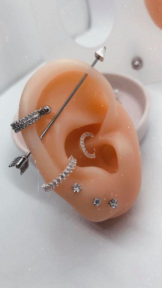 Piercing conch torção cravejado Prata 925