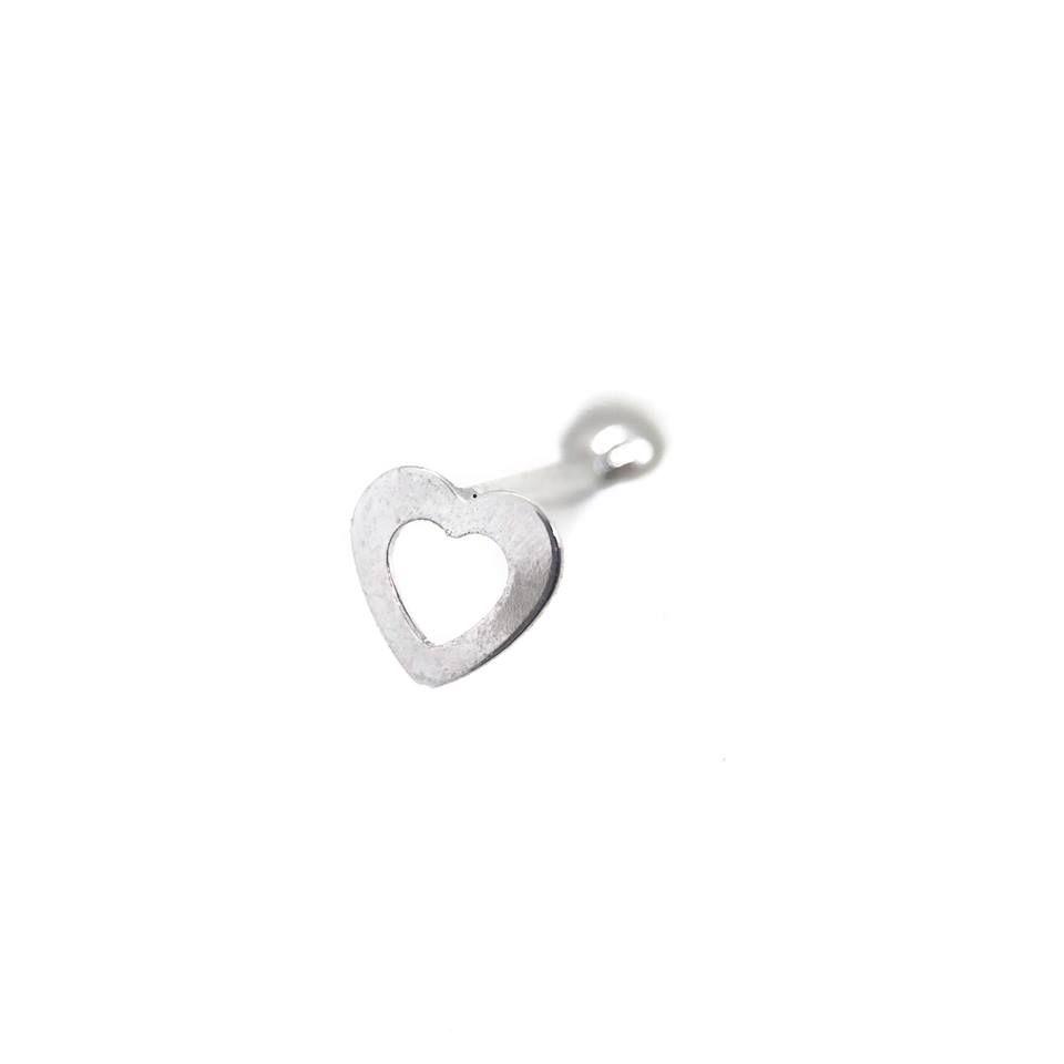 Piercing coração vazado retinho Aço cirúrgico Folheado