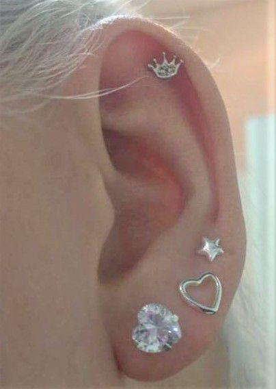 Piercing coroa com micro zircônias  Prata 925