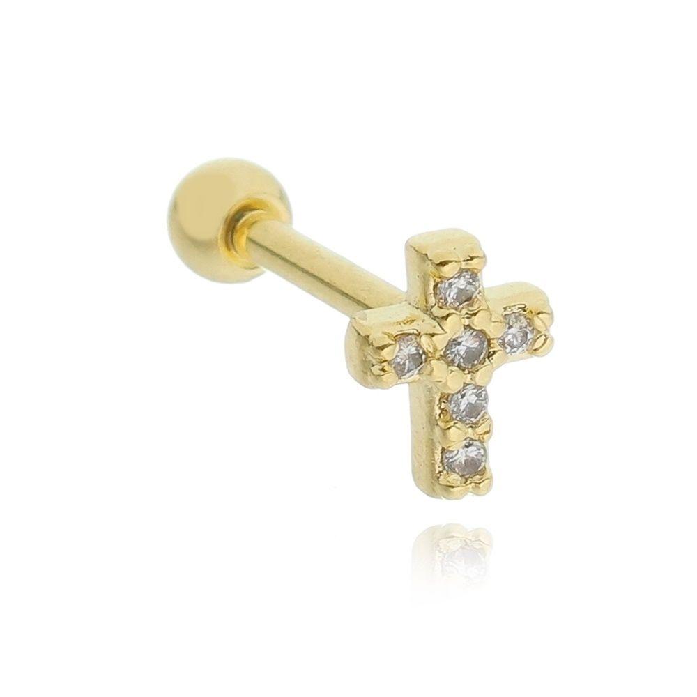 Piercing cruz cravejada em zircônias Folheado