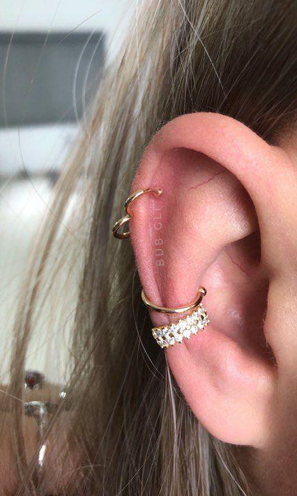 Piercing fake liso conch banhado a ouro 18k