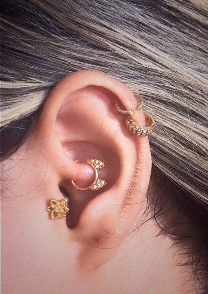 Piercing flor de lótus Aço e Prata 925 ou folheada a Ouro 18k