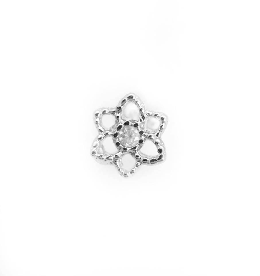 Piercing flor de lótus Prata 925 ou folheada a Ouro 18k