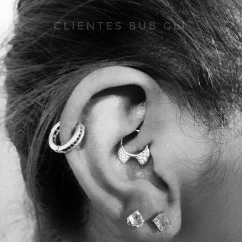 Piercing gatinho c/ micro zircônias Aço e Prata 925