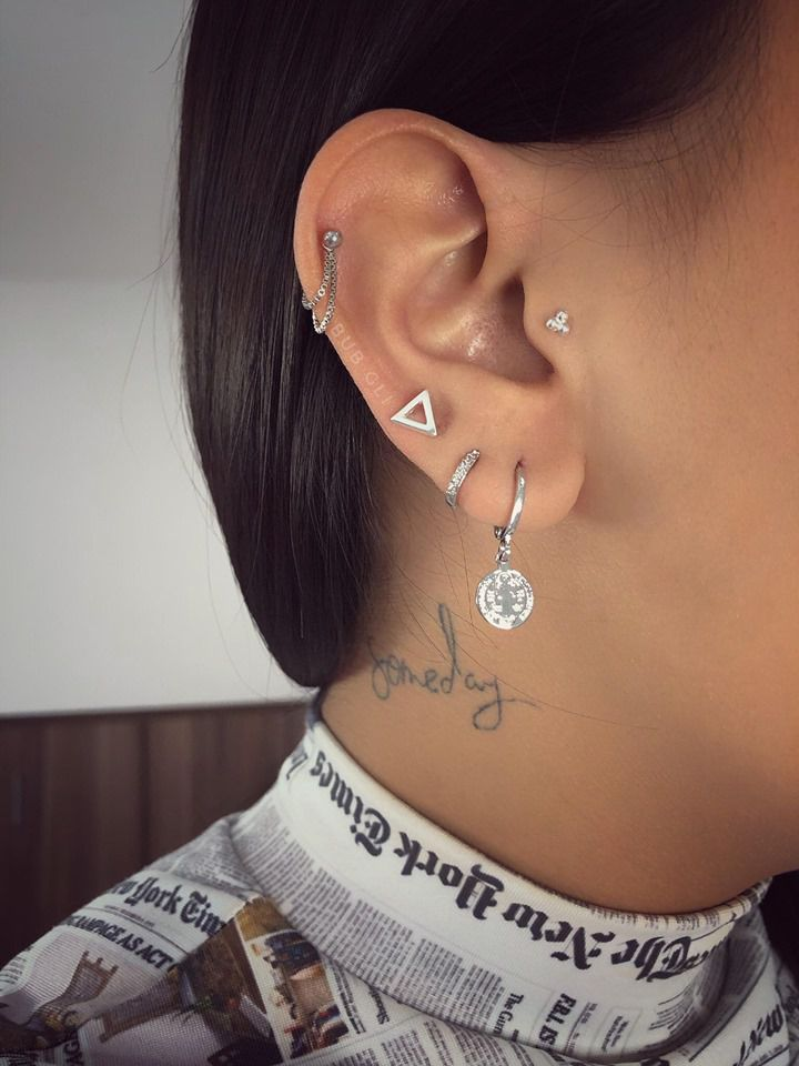 Piercing micro trinity Aço e Prata 925