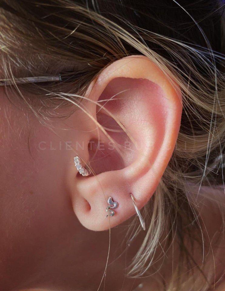 Piercing mini argola de click cravejada Prata 925 - Ver tamanhos